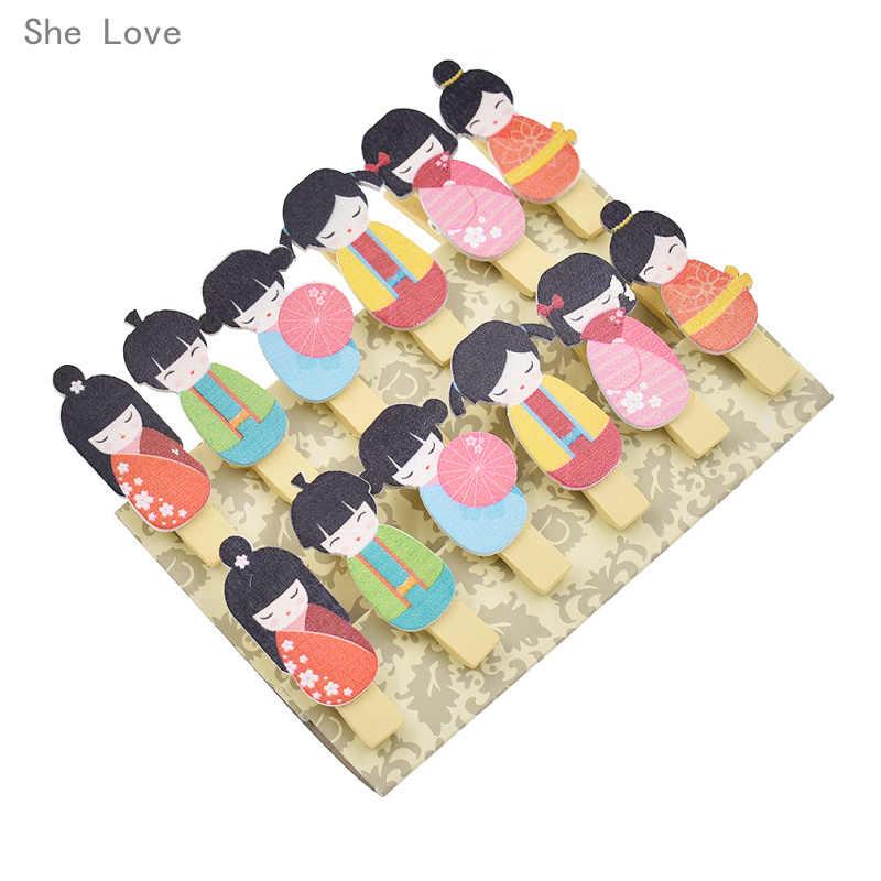 เธอรัก12ชิ้นKawaiiญี่ปุ่นตุ๊กตาไม้คลิปP Hoto P Aper C Lothespinหัตถกรรมพรรคตกแต่งด้วยเชือกป่าน