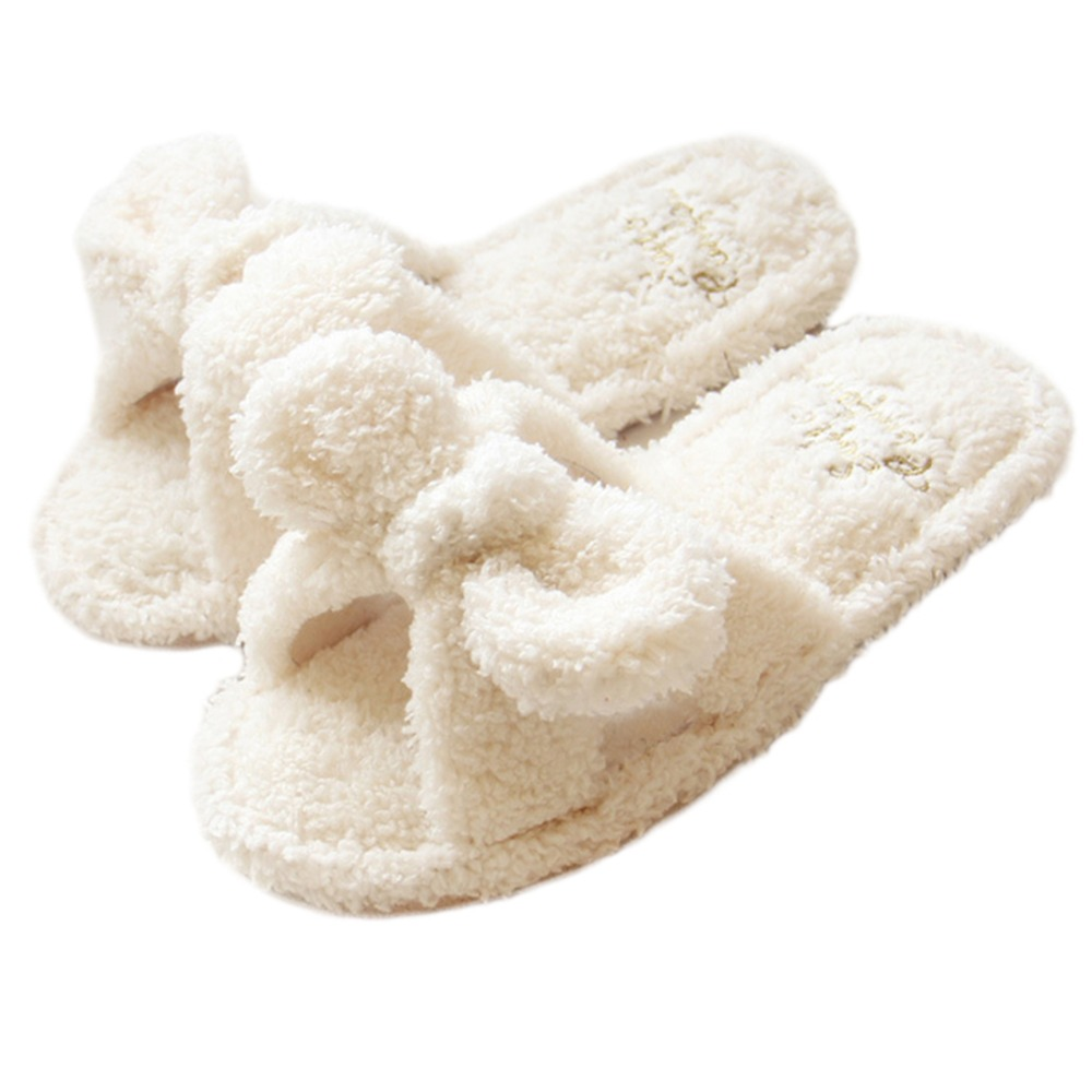 eda0d97c404fc9 Women Ladies Bow Fleece House Slippers Padded Flip Flops flatform Open Toe  Sandals