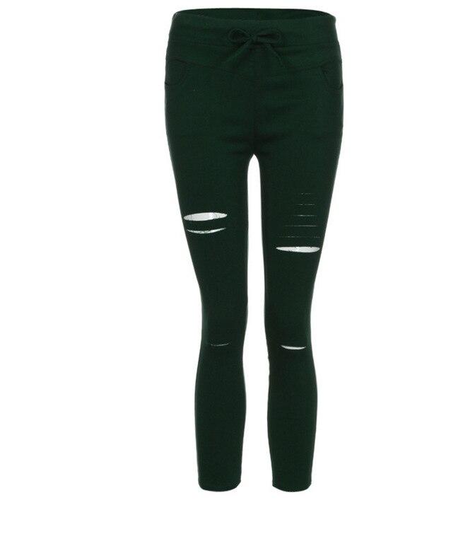 2019 Summer Women Skinny Cut Pencil Pants High Waist Stretch Jeans Trousers Casual Fashion Cotton Pants Slim Legging White Black 35