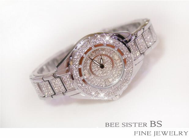 2019 Hot Sale Women Watches Lady Diamond Stone Dress Watch Gold Silver Stainless Steel Rhineston Wristwatch Female Crystal Watch 3