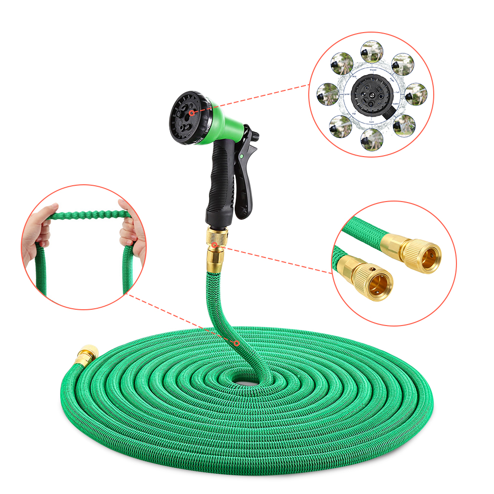 25FT-100FT Garden Hose Expandable Flexible Water Hose Plastic Hoses Handy Pipe With Spray Gun Watering Double Layer Latex Core