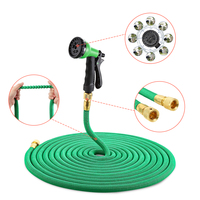 25FT 100FT Garden Hose Expandable Flexible Water Hose Plastic Handy Pipe With Spray Gun Watering Double Layer Latex Core Z30