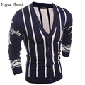 Vogue Anmi new 2016 cardigans men sweaters knitwear casual striped cardigan male clothing fashion slim men coat cotton red
