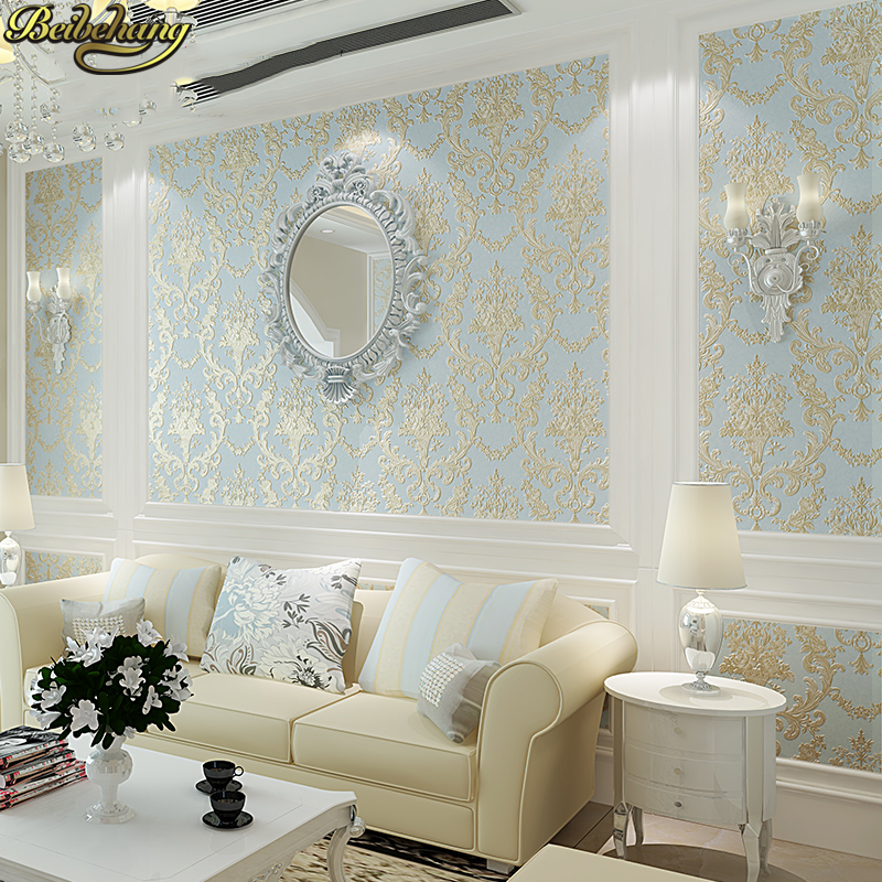 beibehang Embossed European Silk Damascus wallpapers for living room decoration Luxury Damask Wall paper Textured Wallpaper