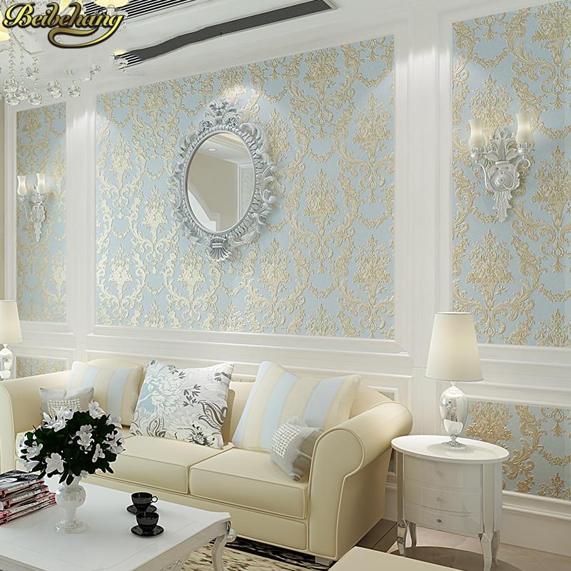 Beibehang papier peint en soie européenne en relief damas pour décoration de salon papier peint de luxe damassé papier peint texturé rouleau