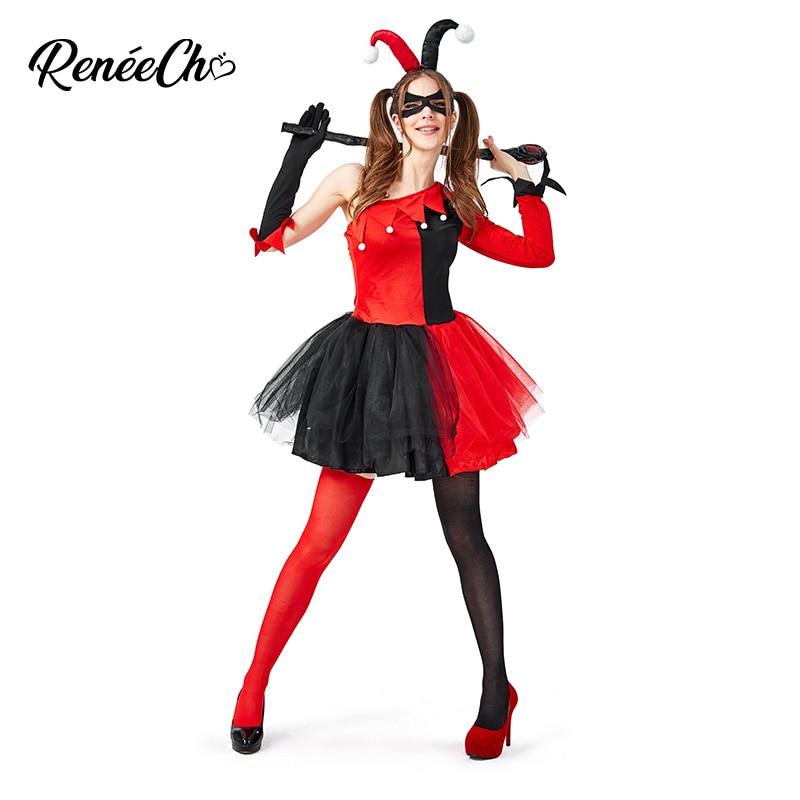 Reneecho Halloween Costume For Adult Women Evil Jester Costume Female Clown Cosplay Tutu Fancy Party Dress For Carnival