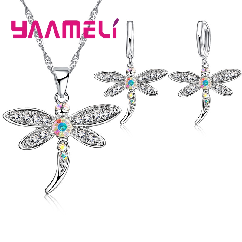 Real 925 Sterling Silver AB Colored Cubic Zircon Necklace Earrings Jewelry Sets For Women Girls CZ Crystal Dragonfly