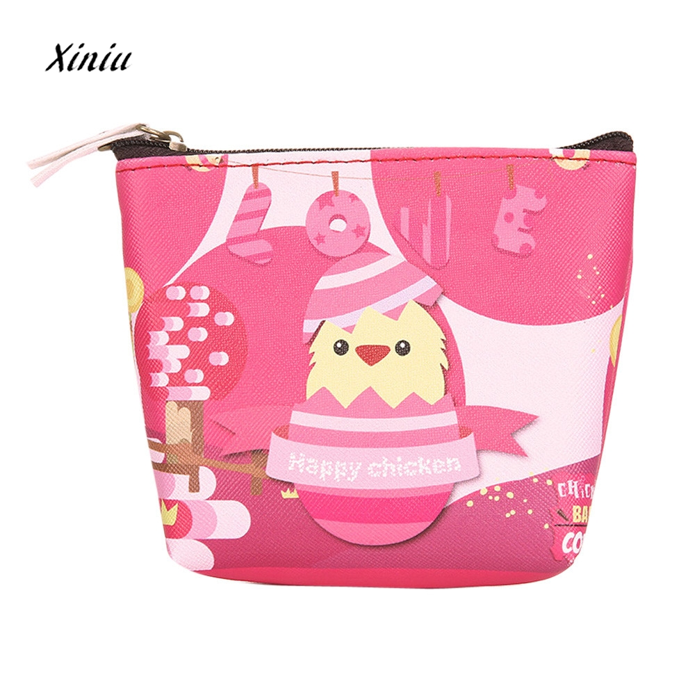 Women Girls Cute Cartoon Chicken Pattern Coin Purse Wallet Zipper Ladies Change Pouch Ke ...