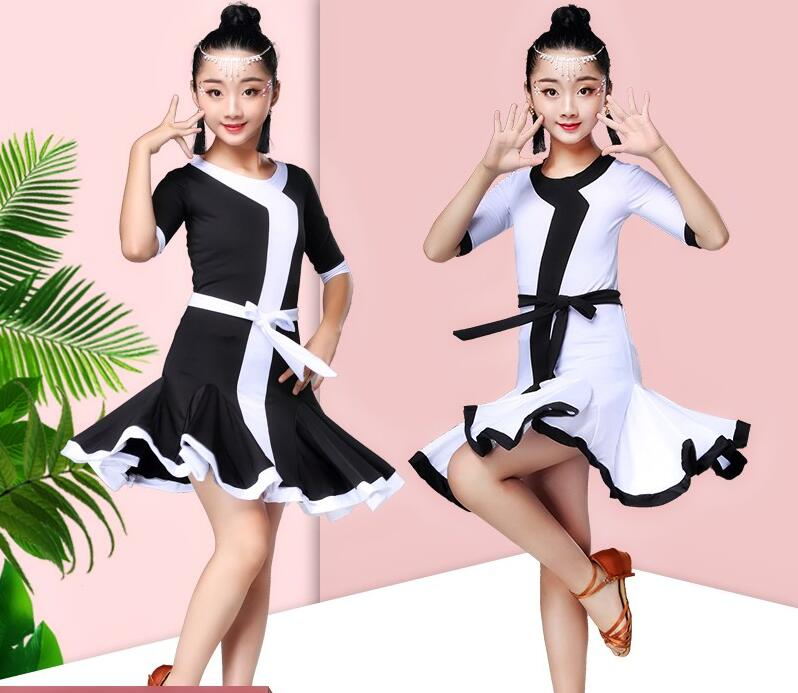 High quality White black latin dance competition dresses dress for girls kids costume