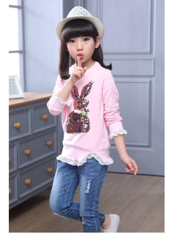 2016 new arrive sequined rebbit charatcer gray pink girls sweatshirt spring long sleeve kids clothes girls tops clothes 8 10 12 14 years girls clothing  6 7 8 9 10 11 12 13 14 15 16 children clothing (9)