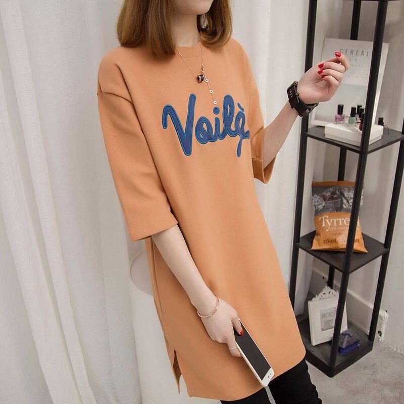 Whoholl Women tshirt 2017 summer new Korean style short sleeve T-shirts letter printing, ladies long Cloth, womens top tee