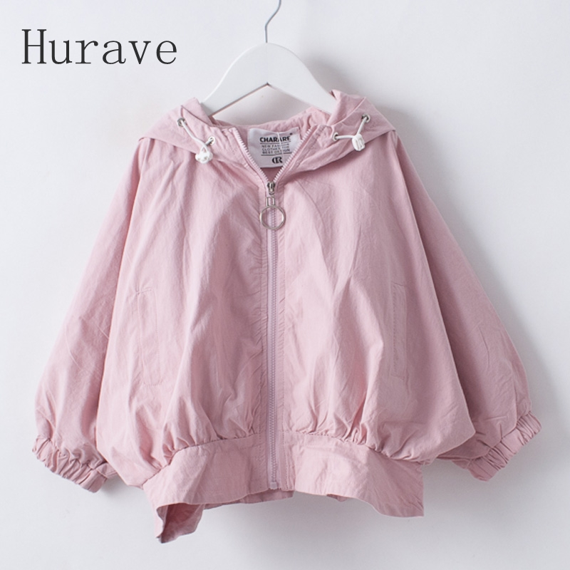 Hurave Girls Coats 2017 Autumn Baby Jackets Hooded Leter Printing Baby Girl Hooded Outerwear&Coats Kids Children Clothing