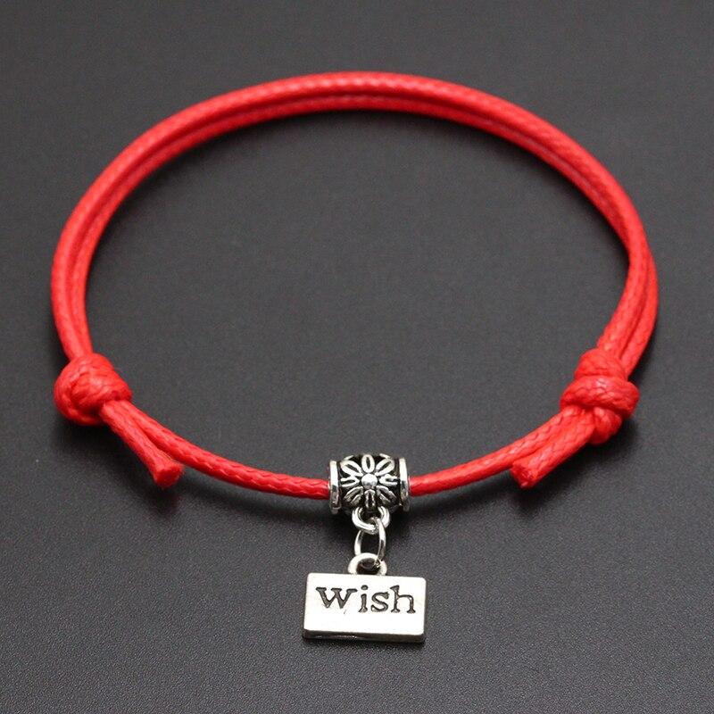 2020 New Best Wish for You Pendant Red Thread String Bracelet Lucky Black Coffee Handmade Rope Bracelet for Women Men Jewelry