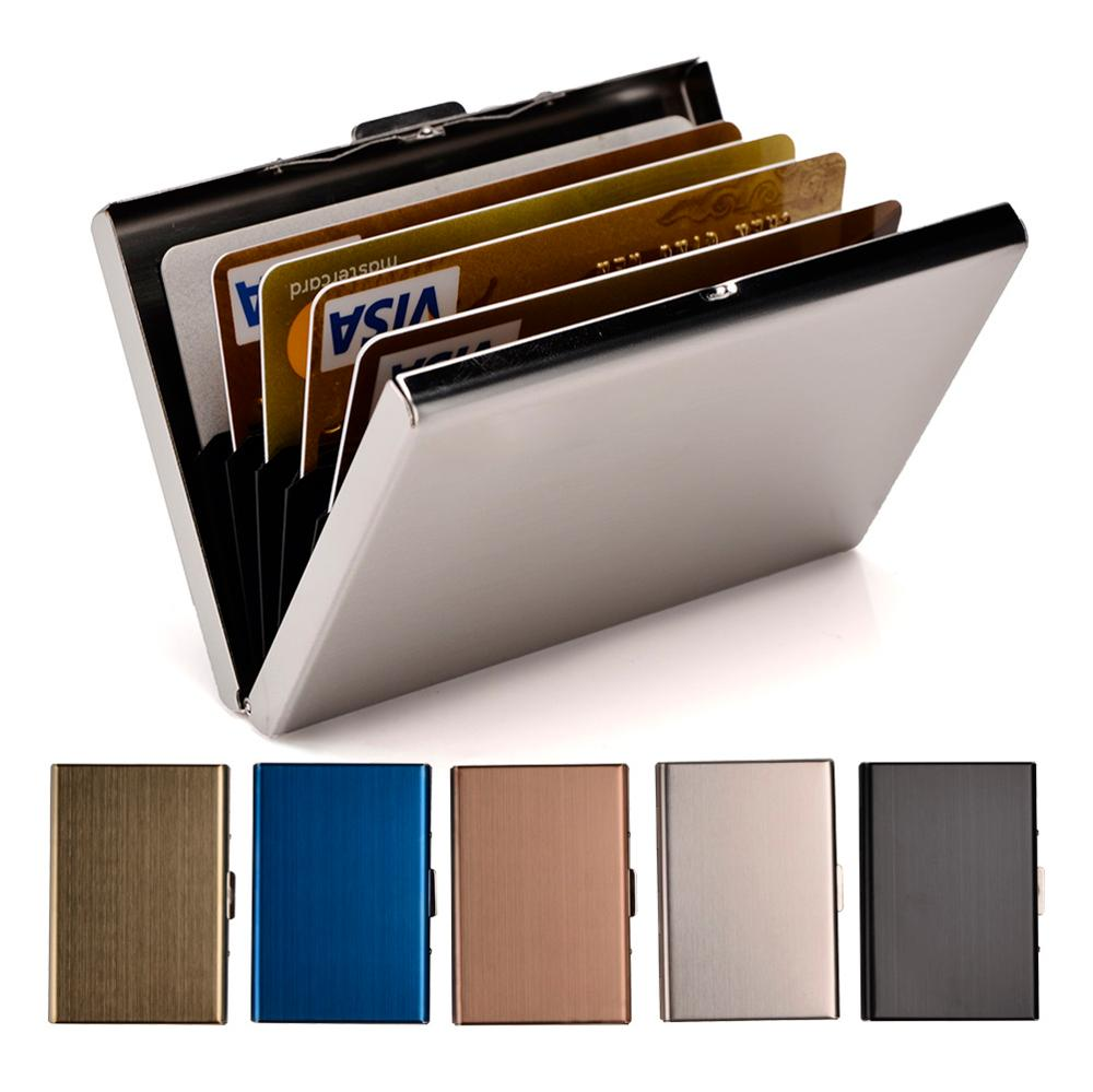 Credit Card Holder Stainless Steel Business Card Case for Men and Women RFID Metal ID Card Holder Wallet xiniu men metal high qualitid credit card holder automatic card sets pocket stainless steel metal business card holder case wmew