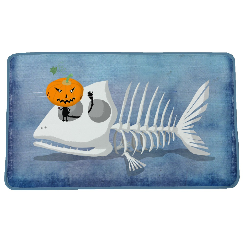 Funny Fish Skull Pumpkin Monster Print Custom Doormat Non slip Floor ...