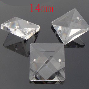 1680pcs/lot 14mm Crystal Prism Square Beads In 2 Holes DIY Wedding Garland Strand Beads Curtain Pendant Beads