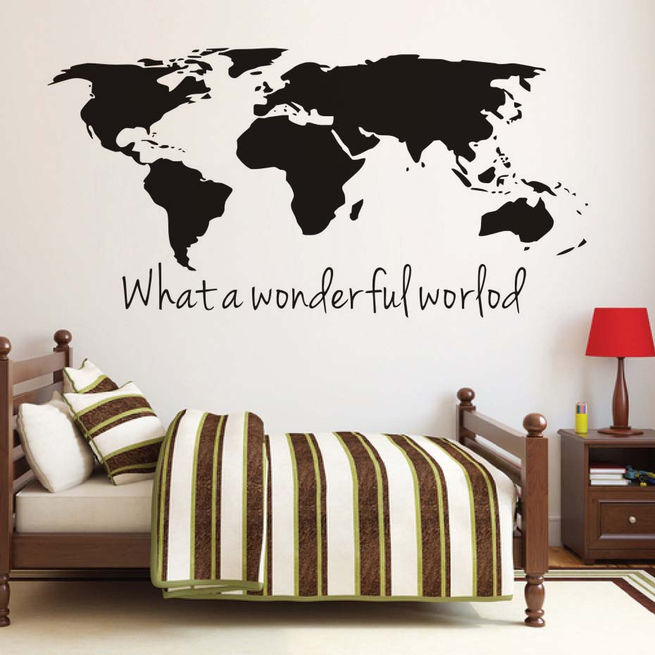 Hot sale what a wonderful world map wall stickers large size map hot sale what a wonderful world map wall stickers large size map removable vinyl wall decals for living room home decor in wall stickers from home garden gumiabroncs Gallery