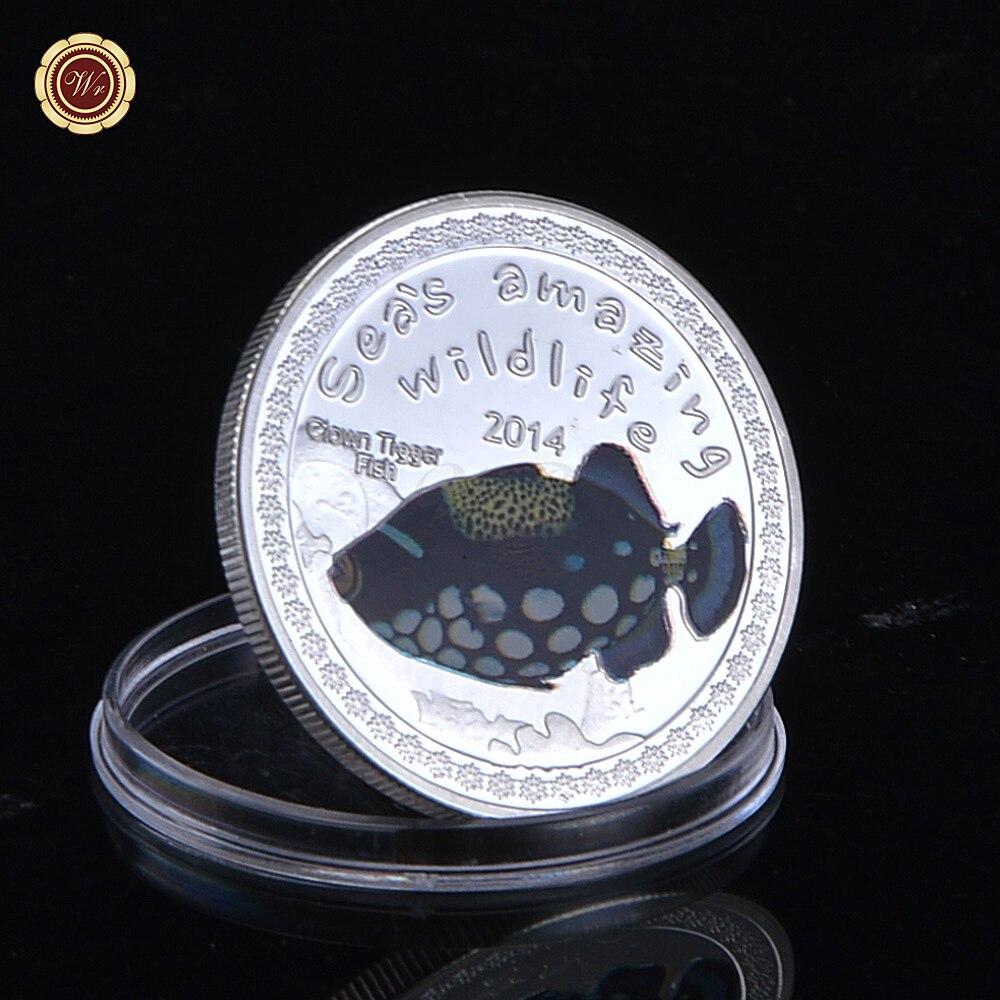 Mar\'s Amazing Wildlife monedas plateado payaso gatillo Fish patrón ...