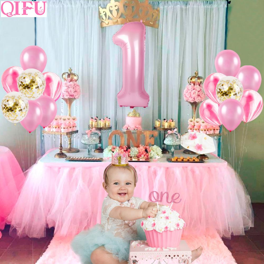 QIFU 30pcs Pink <font><b>Birthday</b></font> Balloon Banner Set 1st <font><b>Birthday</b></font> Party <font><b>Decor</b></font> Kids First <font><b>1</b></font> <font><b>Birthday</b></font> Foil Balloon <font><b>Girl</b></font> Favor I am One image
