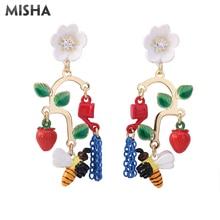MISHA New Earrings Flower Bees Luxury Simulation Gems Jewelry Party Long Tassel Earrings Ladies Girls Gift Jewelry 766