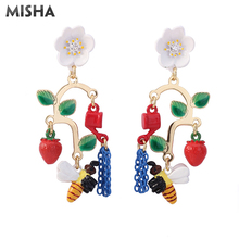 Серьги MISHA, с цветами, пчелами, Роскошные драгоценные камни, для вечеринки, длинные серьги с кисточками, для девушек, подарок, 766