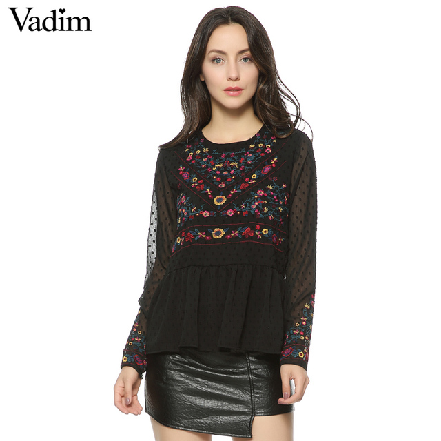 Women vintage floral embroidery pleated chiffon shirts transparent sexy dots long sleeve retro blouse casual tops blusas LT1371