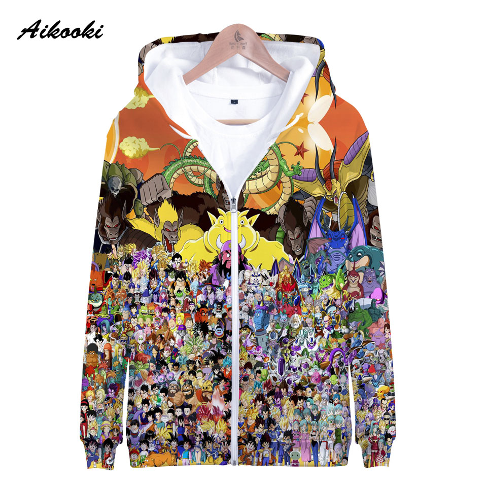 Aikooki Dragon Ball Zipper sweat à capuche pour homme/femmes sweat à capuche 3D roi de Dragon Ball à capuche garçon/fille automne hiver Polluver hauts