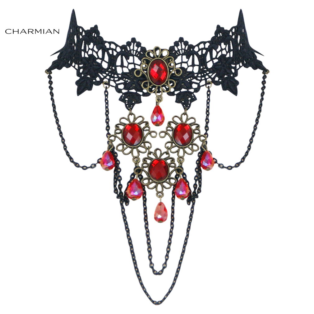 Charmian Retro Gothic Victorian Lace Gem Choker Necklace Accessories