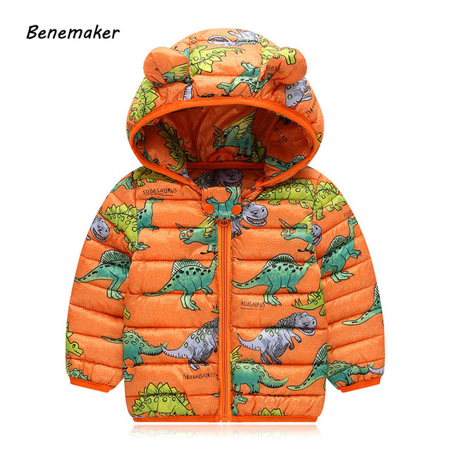 Best Price Benemaker Winter Dinosaur Jackets For Boy Baby Girl clothes Children's Clothing Thick Coats Overalls Hooded Kids Outerwear JH092