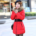 2017 winter casual fashion fur collar medium-long thick slim style women's cotton wadded down jacket belt  jacket outerwear