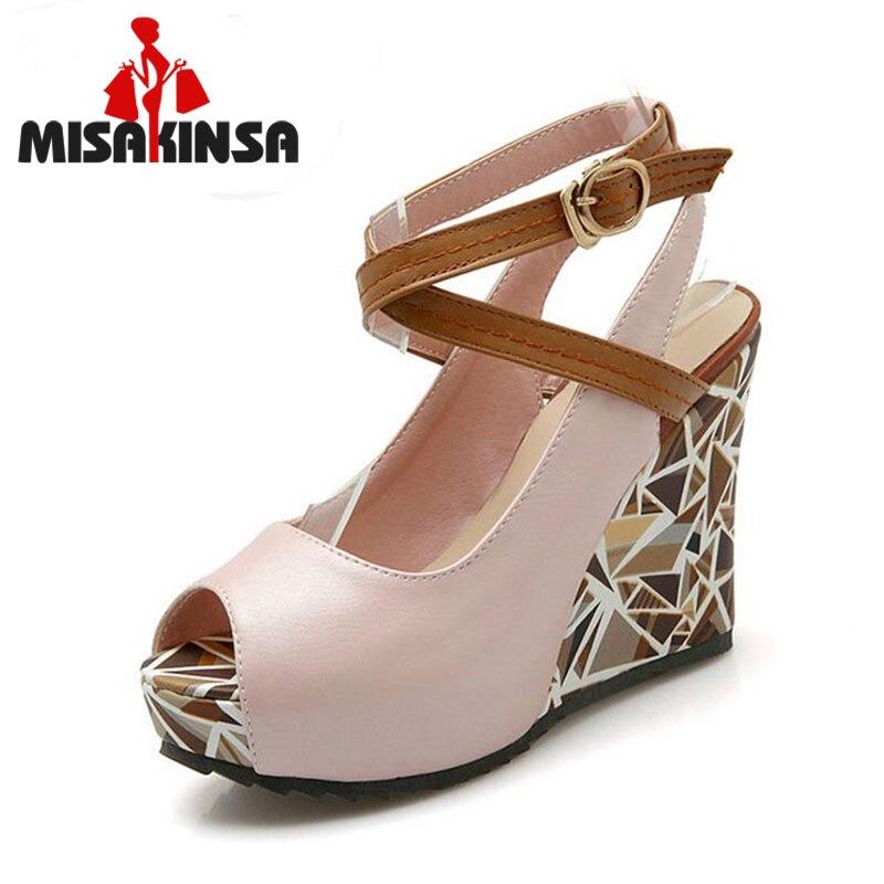 MISAKINSA Size 33-43 Sexy Women Wedges Sandals Women Peep Toe Ankle Strap Summer Shoes Women High Wedges Sandals Platform Shoes