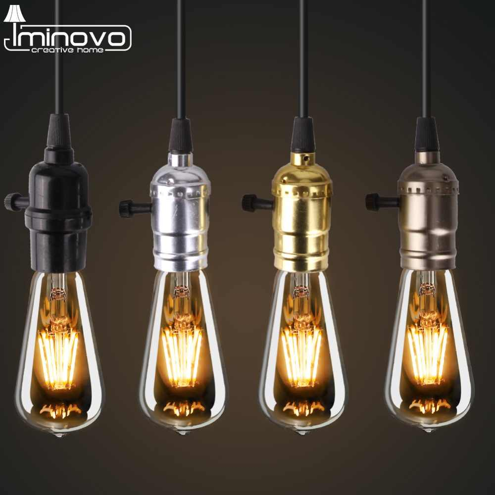 Iminovo E27 Lamp holder Pendant Lights American Country Style Decoration Lamp for Living Room/Hotel Hall/Hotel Room DIY