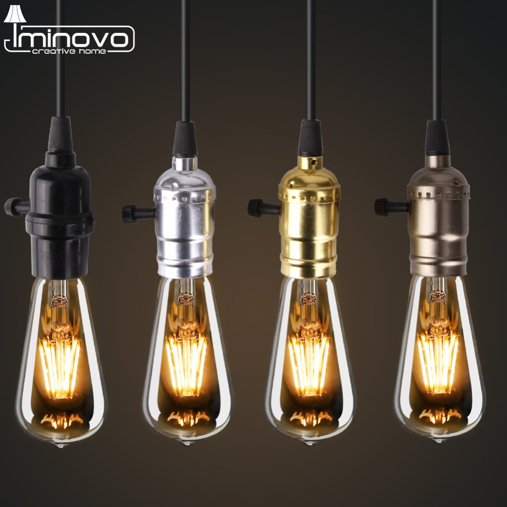 Iminovo E27 Lamp holder Pendant Lights American Country Style Decoration Lamp for Living Room/Hotel Hall/Hotel Room DIY r54 hotel room