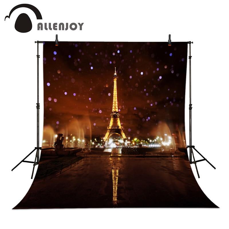 Allenjoy Fotografické pozadí Lesklá světla Bokeh noc Eiffelova věž fotografie pozadí tkaniny Valentýna 200cm * 300cm