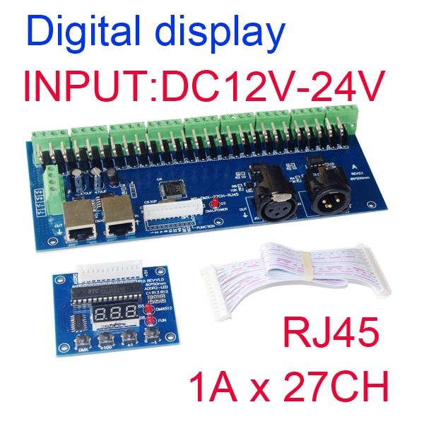2015 New Version best price 1pcs hight power DC12V-24V DMX-27CH-RJ45-led dimmer 1A*27CH decoder led RGB controller