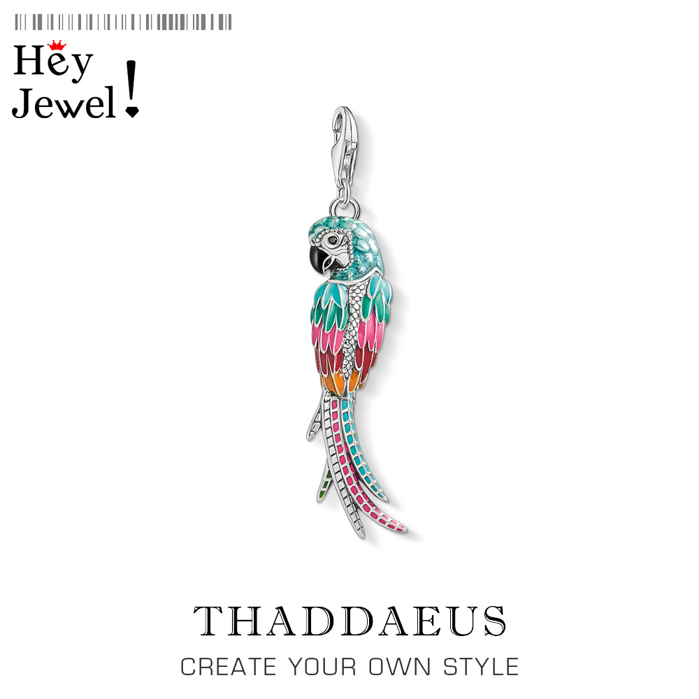 925 Sterling Silver Colorful Parrot Pendant Charm 2019 Summer Fashion Jewelry Gift Fit Bracelet For Women Men Fashion Jewelry