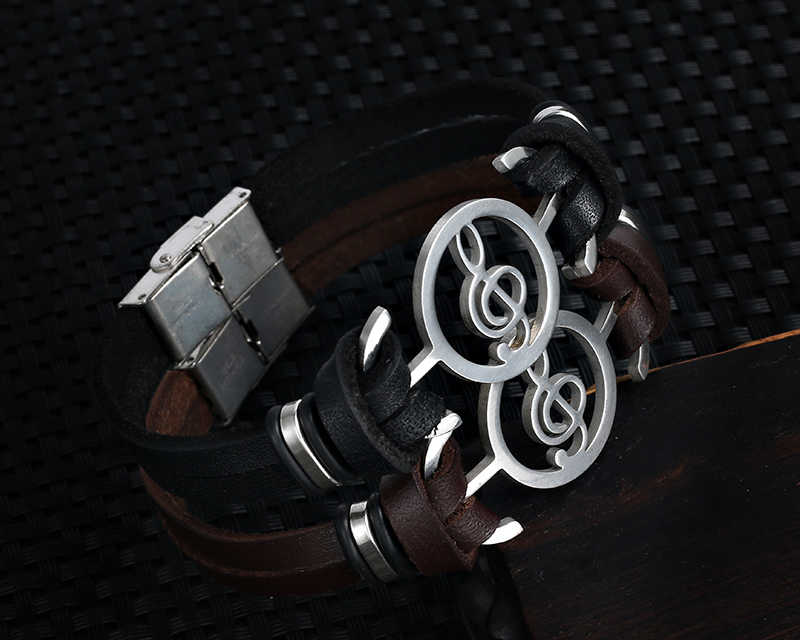 Wysokiej jakości stal nierdzewna nuty bransoletka skórzana muzyka punkowa bransoletka dla kobiet mężczyzn Gothic Charm biżuteria