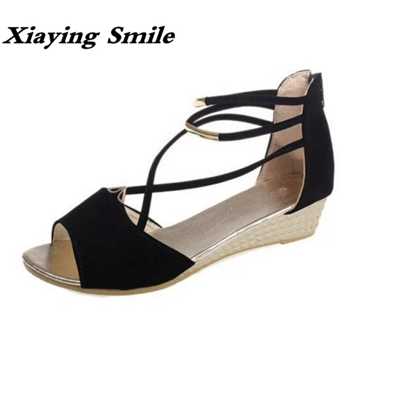 Xiaying Smile Summer Woman Sandals Shoes Platform Women Pump Zip Wedges Metal Decoration Fashion Casual Flock Rubber Women Shoes xiaying smile woman sandals summer square cover heel closed toe woman pumps buckle strap fashion casual hollow flock women shoes