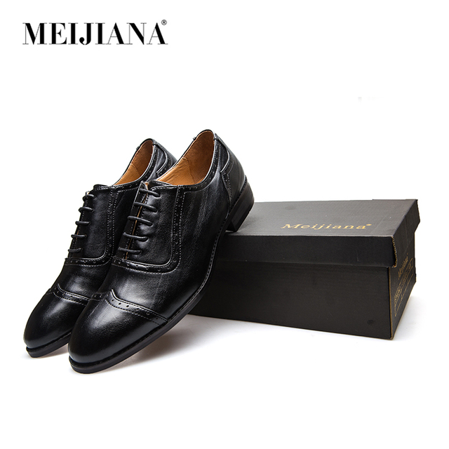 Meijiana Leather Oxfords Shoes For Men Dress Formal Office Lace Up