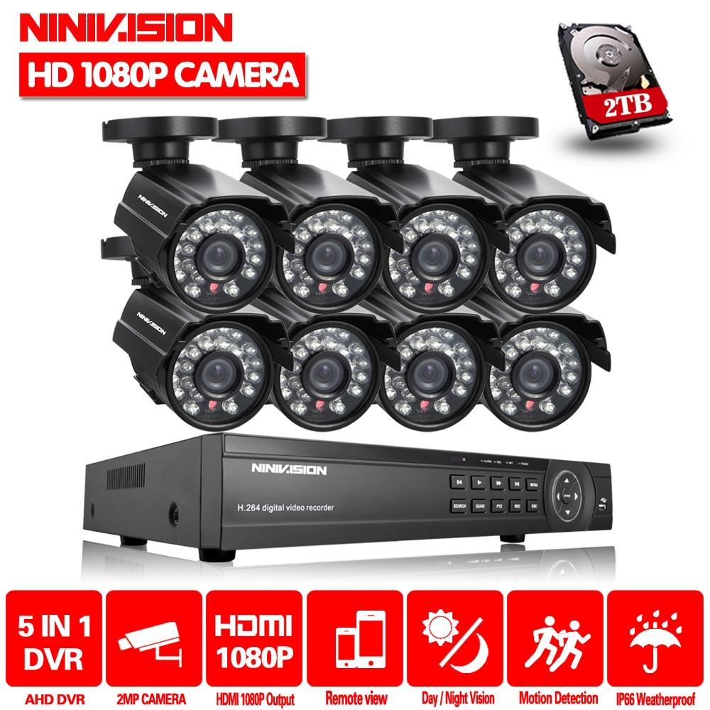 Ninivision 8ch hd sistema de câmera 2.0mp 3000tvl ao ar livre 8 canais 1080 p ahd dvr kit 8ch vigilância segurança cctv sistema de câmera