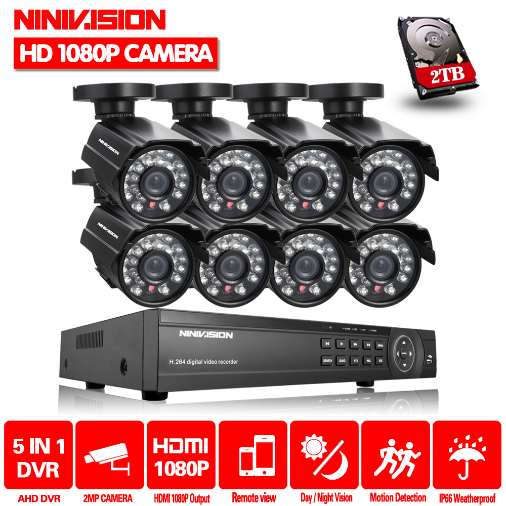 NINIVISION 8CH HD камера системы 2.0MP 3000TVL Открытый 8 каналов 1080 P AHD DVR комплект 8Ch видеонаблюдения CCTV