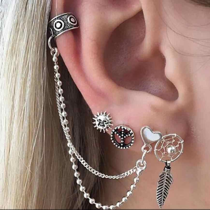 Fanshion Bohemia Women Retro Silver Ear Clip Dangle Earrings Set Fashion Jewelry Earrings Set    Jun13
