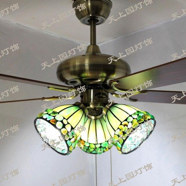 Special Promotions Upscale European Antique Jade Onyx Tiffany Ceiling Fan  Lights Chandelier Fan Lamp With Fan