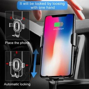 Image 3 - Baseus Qi 자동차 무선 충전기 아이폰 X Xs XR 8 7 10W 빠른 충전기 자동차 마운트 홀더 삼성 S9 S8 자동차 전화 충전기