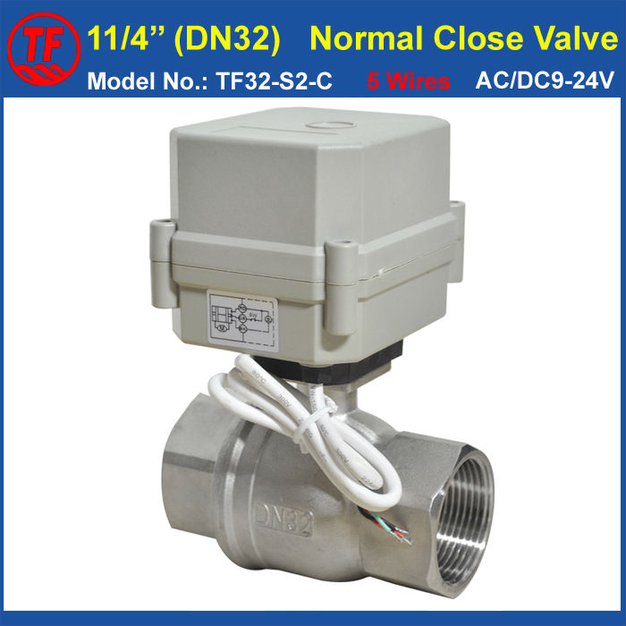 TF32-S2-C 5 Wires Normal Close Valve With Signal Feedback AC/DC9-24V 2 Way Stainless Steel DN32 BSP/NPT 11/4'' Capacitor tf15 s2 b dn15 stainless steel normal close open valve 2 5 wires bsp npt 1 2 ac dc9v 24v electric water valve