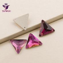 3270 Triangle 16mm 22mm Fuchsia Strass Crystal Rhinestones For Clothes Sew On Glass Crystals Rhinestone