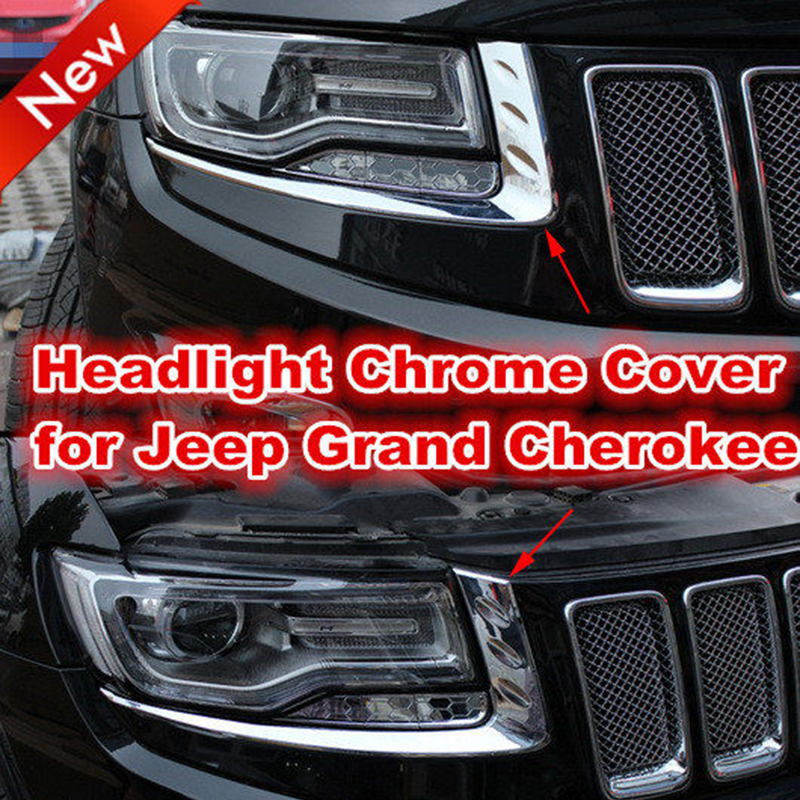Chrome Light Covers for Jeep Grand Cherokee 2014+ Headlight Chromed Cover Trims ABS Red Silver Decoration Stickers abs chrome front head light eyelid cover trim for jeep grand cherokee 2014 2015