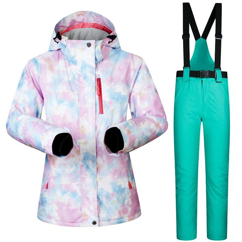 Nouvelle veste et pantalon de Ski pour femmes d'hiver imperméable à l'eau Super chaud convient aux marques de vêtements de Ski et de Snowboard pour femmes - 4
