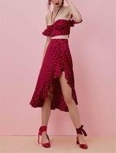 2019 Summer Women Boho Moon Star Floral Print Vintage Skirt Button High Waist Asymmetric Ruffle Beach Skirt ruffle trim asymmetric floral skirt
