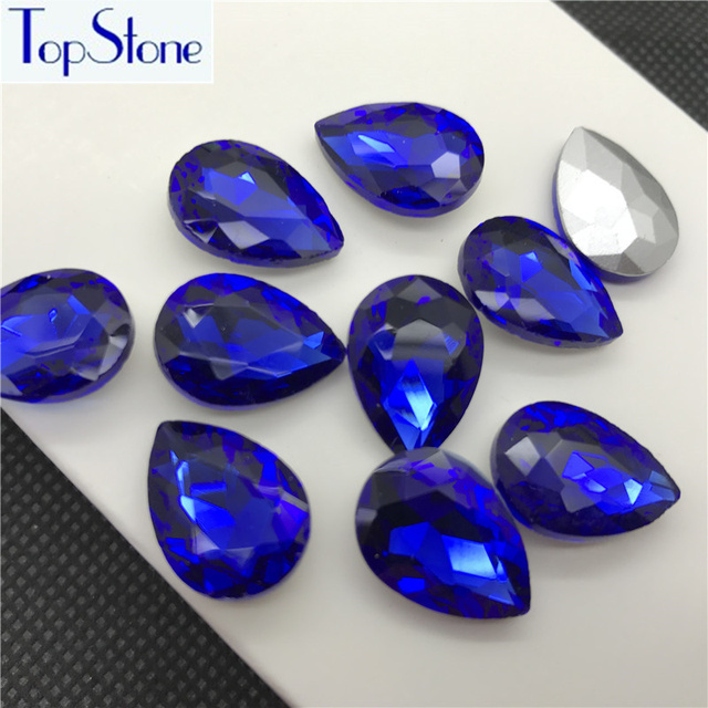 Cobalt Dark Blue TEARDROP Glass Crystal POINTED BACK Rhinestones 5x8 ... 9c4089a6975d